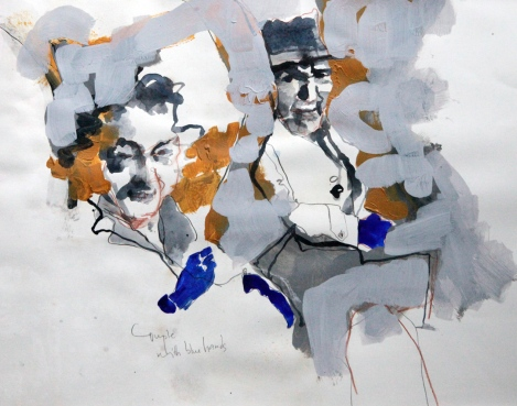 Anna Schuleit Haber: Couple with Blue Hands
