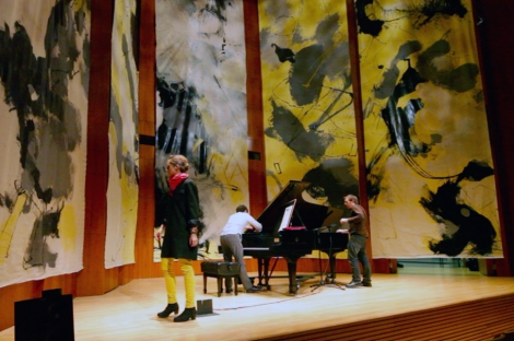 "Dress Rehearsal and Lighting Test for ""Room for Five"" in Hatch Recital Hall, with the pianist Daniel Pesca."